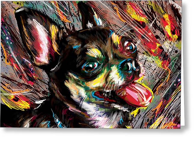 Long Hair Mixed Media Greeting Cards - Chihuahua Art Greeting Card by Ryan RockChromatic