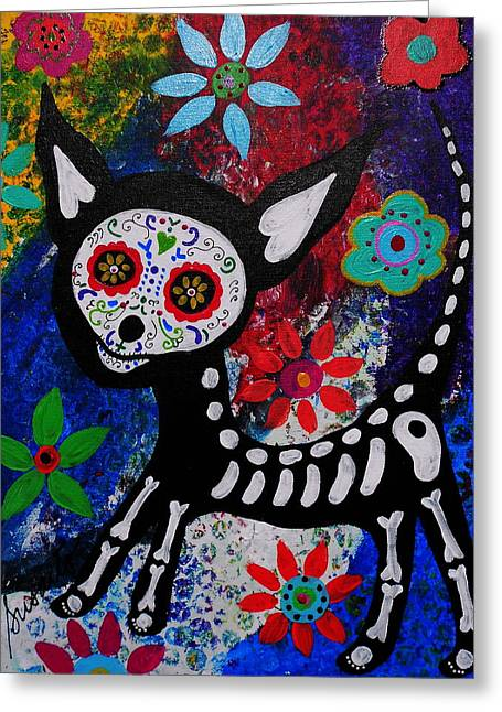 Turkus Greeting Cards - Chihuahua Day Of The Dead Greeting Card by Pristine Cartera Turkus