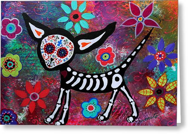 Turkus Greeting Cards - Chihuahua Dia De Los Muertos Greeting Card by Pristine Cartera Turkus