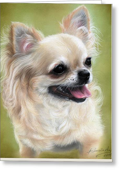 Photorealism Pastels Greeting Cards - Chihuahua Donatella Greeting Card by Danguole Serstinskaja