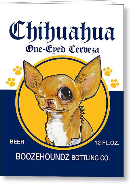 Booze Drawings Greeting Cards - Chihuahua One-Eyed Cerveza Greeting Card by John LaFree