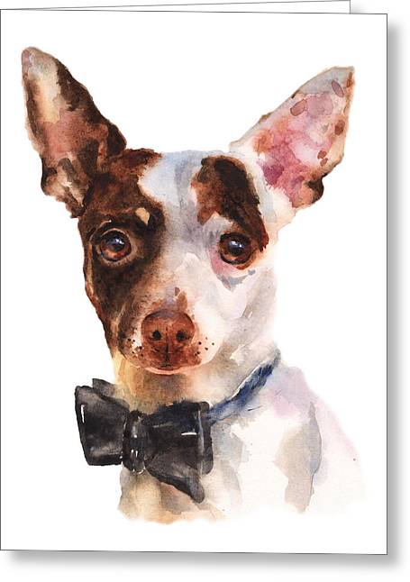 Puppy Print Greeting Cards - Chihuahua Painting Greeting Card by Alison Fennell