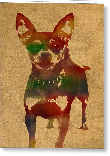 Chihuahua Portraits Greeting Cards - Chihuahua Watercolor Portrait on Worn Canvas Greeting Card by Design Turnpike