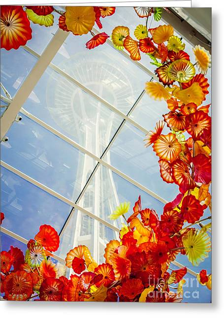 Chihuly Glass Greeting Cards - Glass Sculpture and Space Needle Greeting Card by Joan McCool