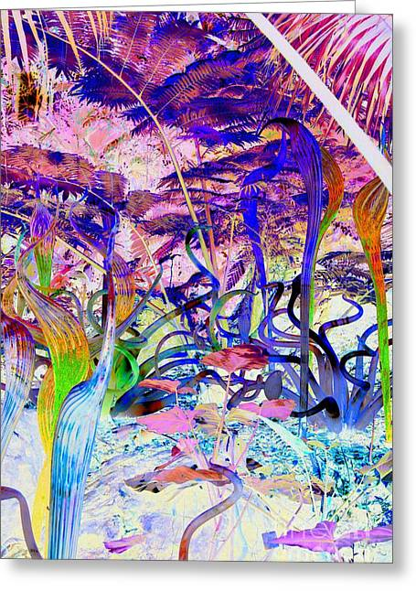 Chihuly Glass Greeting Cards - Chihuly Rainforest Colors Greeting Card by Edna Weber