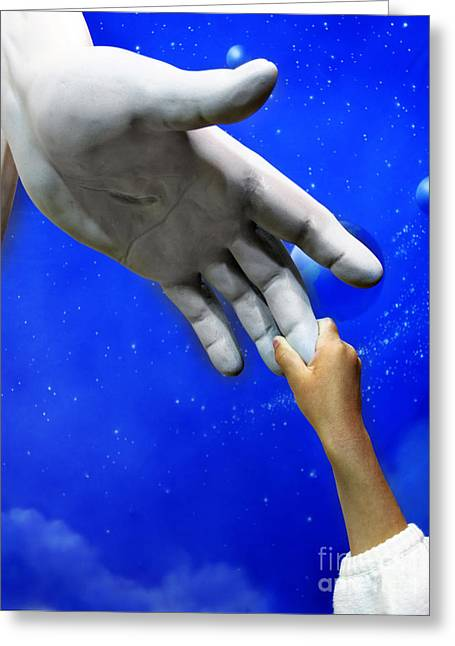 Praying Hands Greeting Cards - Child Holding Hand of Jesus Statue Greeting Card by Lane Erickson