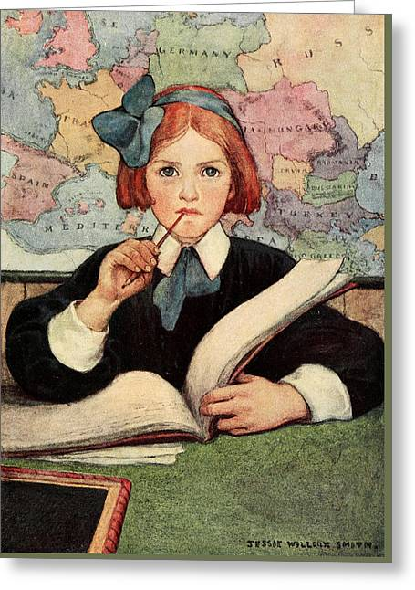 Art Book Greeting Cards - Child learning Greeting Card by Jessie Willcox