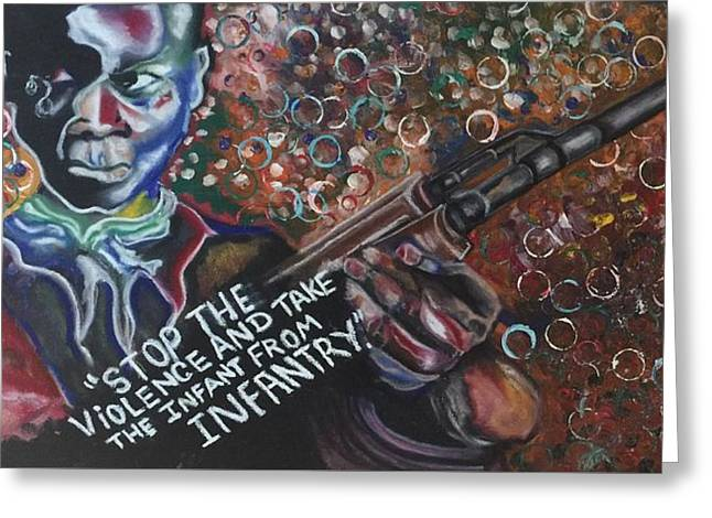 Diamond Pastels Greeting Cards - Child Soldier Greeting Card by Ebony Thompson