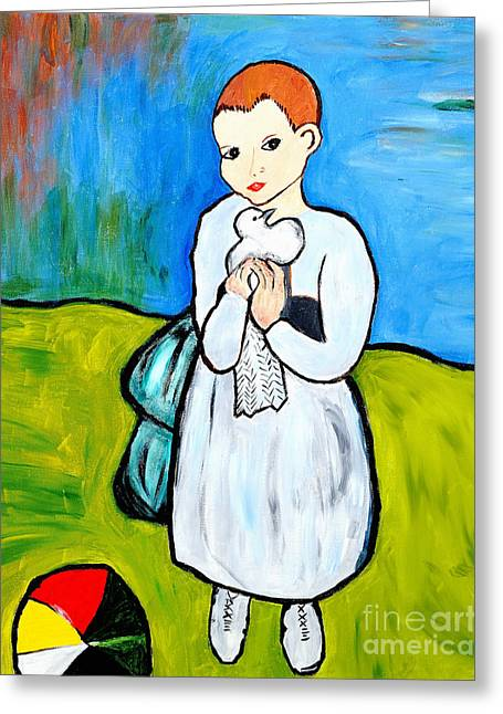 Pablo Picasso Greeting Cards - Child with a Dove Greeting Card by Art by Danielle