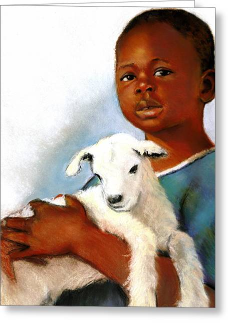 Child Care Pastels Greeting Cards - Child With Baby Goat Greeting Card by Joyce Geleynse