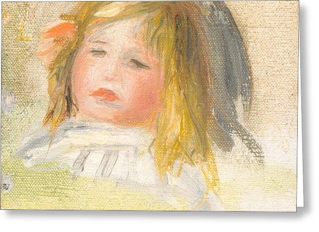 Famous Artist Greeting Cards - Child With Blond Hair Greeting Card by Auguste Renoir