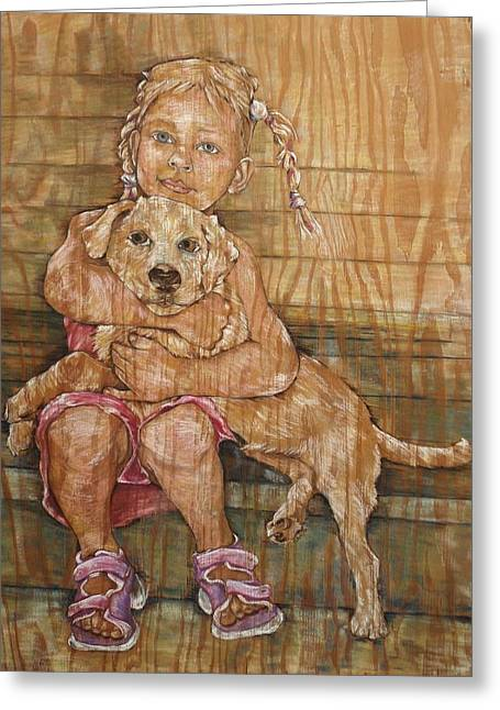 Mixed Labrador Retriever Mixed Media Greeting Cards - Child With Pup Greeting Card by Christine Marek-Matejka