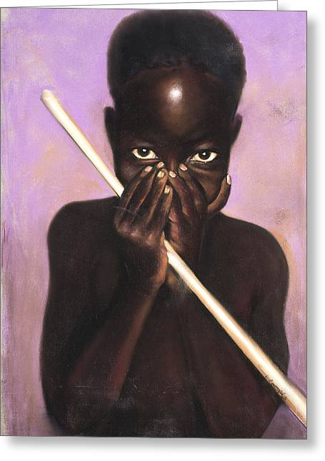 African-american Pastels Greeting Cards - Child with Stick Greeting Card by L Cooper