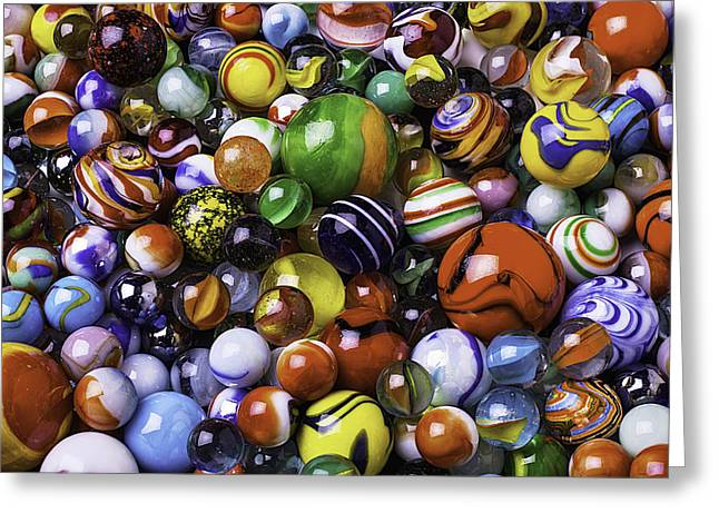 Amusements Greeting Cards - Childhood Marbles Greeting Card by Garry Gay