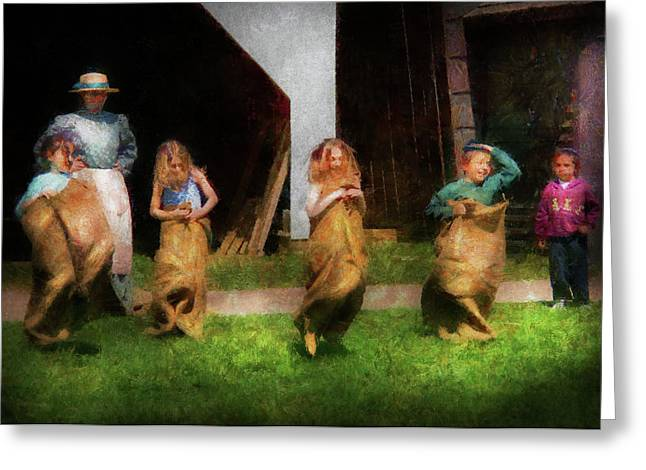 Children - The Sack Race  Greeting Card by Mike Savad