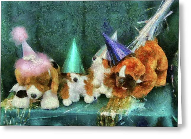 Toy Dog Greeting Cards - Children - Toys - Lets get this party started Greeting Card by Mike Savad