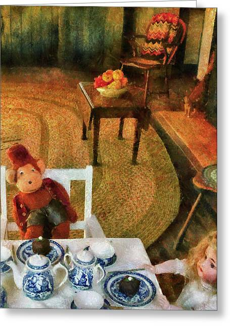 Children - Toys - The Tea Party Greeting Card by Mike Savad