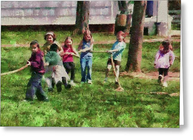 Children - Tug Of War  Greeting Card by Mike Savad