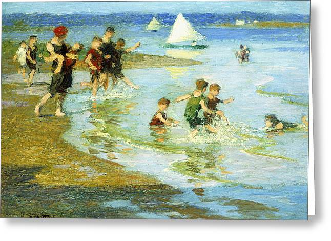 Sailboat Art Greeting Cards - Children at Play on the Beach Greeting Card by Edward Henry Potthast