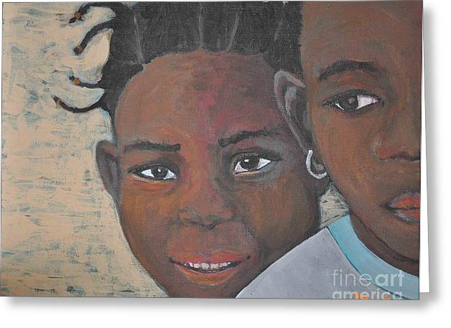 Haut Paintings Greeting Cards - Children Burkina Faso Series Greeting Card by Reb Frost