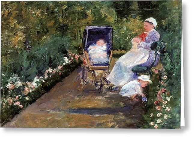 Children In A Garden Greeting Card by Mary Cassatt