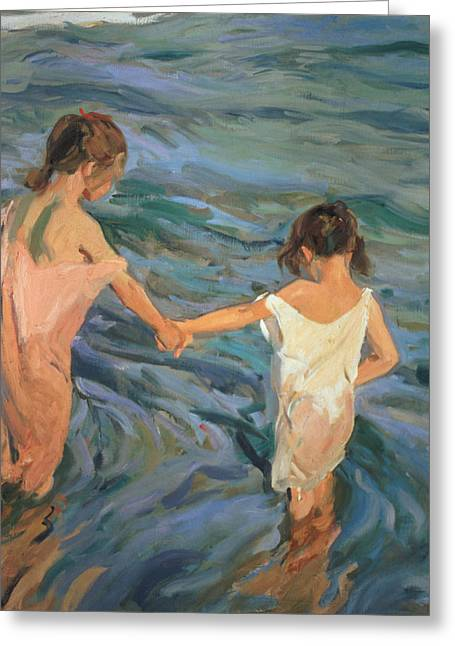 Beach White Greeting Cards - Children in the Sea Greeting Card by Joaquin Sorolla y Bastida
