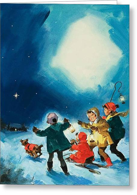 Winter Night Drawings Greeting Cards - Children in the Snow Greeting Card by English School