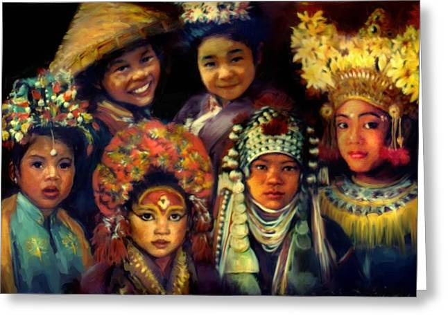 Children Of Asia Greeting Card by Jean Hildebrant
