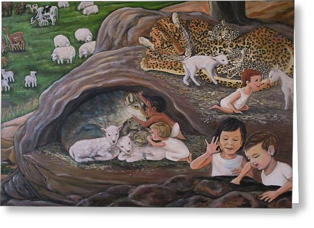 Lion And Lamb Greeting Cards - Children of God Greeting Card by Jennifer Kwon