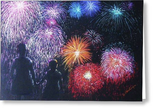 4th July Pastels Greeting Cards - Children on the 4th of July Greeting Card by Diane Larcheveque