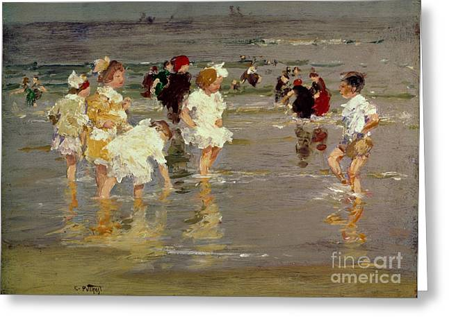 Kid Greeting Cards - Children on the Beach Greeting Card by Edward Henry Potthast