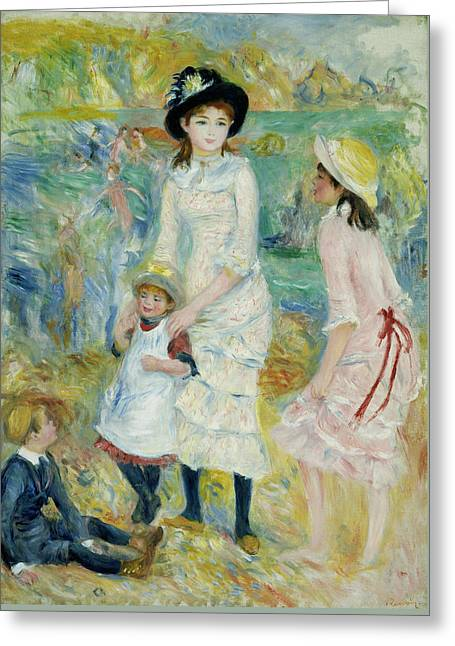 Renoir Greeting Cards - Children on the Seashore Guernsey Greeting Card by Auguste Renoir