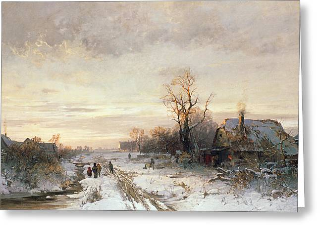 Blizzard Scenes Greeting Cards - Children playing in a winter landscape Greeting Card by August Fink