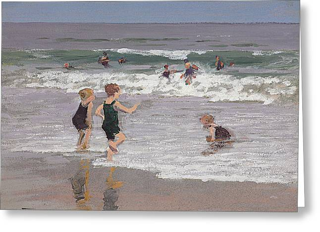 On The Beach Greeting Cards - Children Playing in Surf  Greeting Card by Edward Henry Potthast