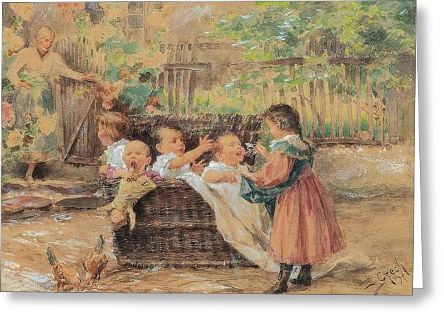 Children Playing In The Garden Greeting Card by Czech