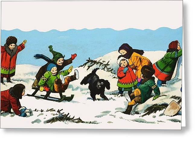 Playing Cards Greeting Cards - Children playing in the snow Greeting Card by Nadir Quinto