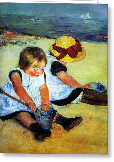 Cassatt Digital Greeting Cards - Children Playing on the Beach 1884  Greeting Card by Mary Cassatt