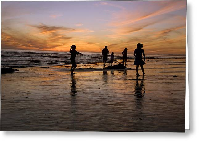 35-39 Years Greeting Cards - Children Playing On The Beach At Sunset Greeting Card by James Forte
