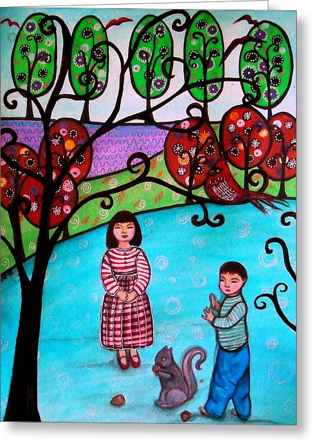Children Playing Greeting Card by Pristine Cartera Turkus