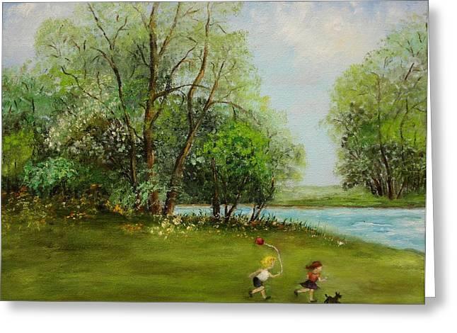 Children Running Greeting Card by Irene McDunn