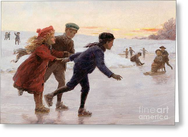 Snow-coated Greeting Cards - Children Skating Greeting Card by Percy Tarrant