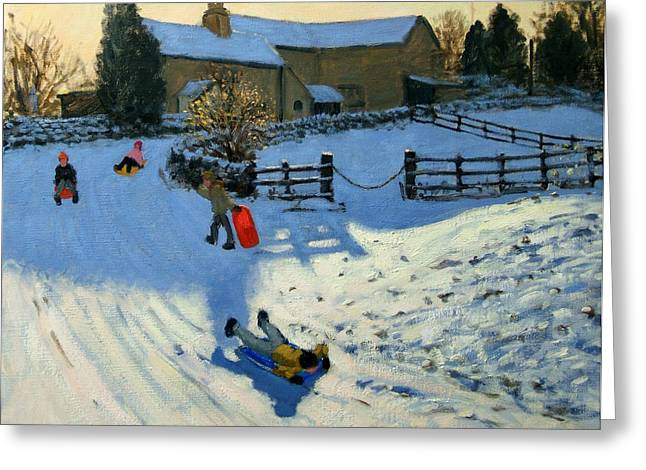 Toboggan Greeting Cards - Children Sledging Greeting Card by Andrew Macara