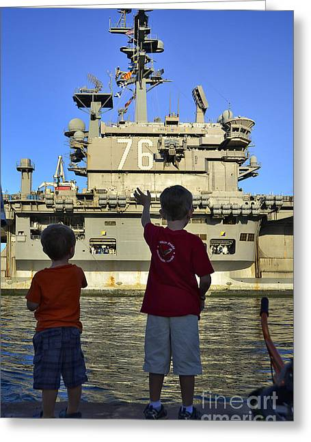 Friend Ship Greeting Cards - Children Wave As Uss Ronald Reagan Greeting Card by Stocktrek Images