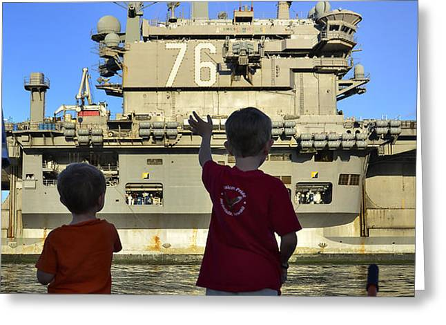 Children Wave As Uss Ronald Reagan Greeting Card by Stocktrek Images