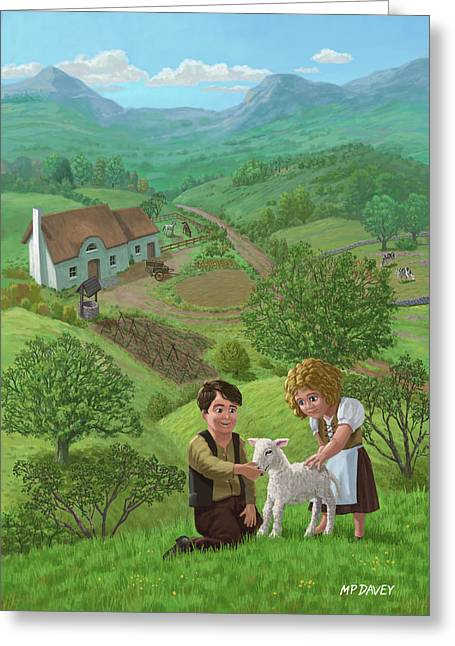 Valley Girl Greeting Cards - Children With Lamb In Country Landscape Greeting Card by Martin Davey