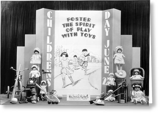 Toy Shop Greeting Cards - Childrens Day Display Greeting Card by Underwood Archives