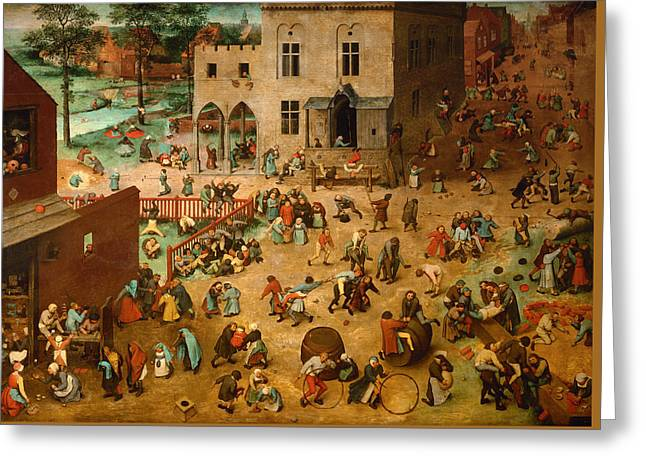 Hopscotch Greeting Cards - Childrens Games Greeting Card by Pieter Brueghel The Elder
