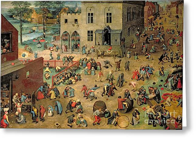 People Greeting Cards - Childrens Games Greeting Card by Pieter the Elder Bruegel