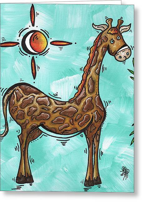Licensor Greeting Cards - Childrens Nursery Art Original Giraffe Painting PLAYFUL by MADART Greeting Card by Megan Duncanson