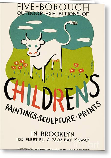 Wpa Prints Greeting Cards - Childrens paintings-sculpture-prints Greeting Card by Celestial Images